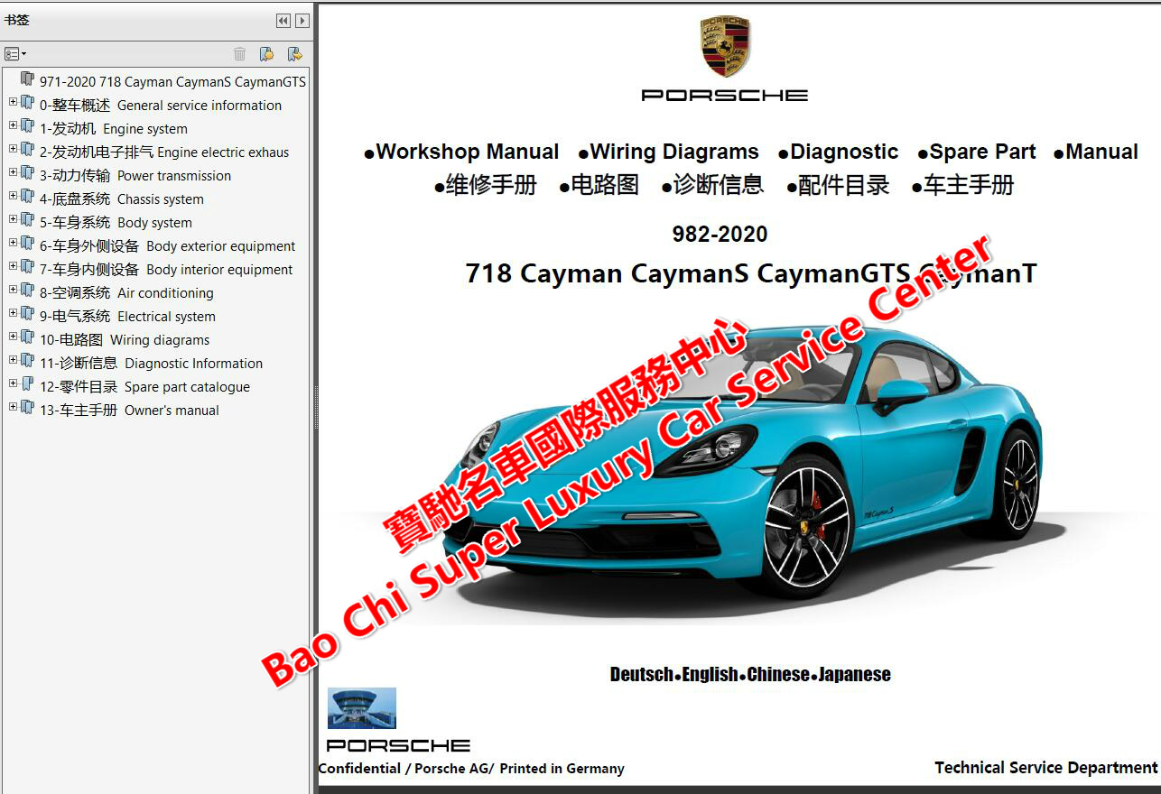 Porsche 718 Boxster 718 Cayman 982 Workshop Manual Wiring