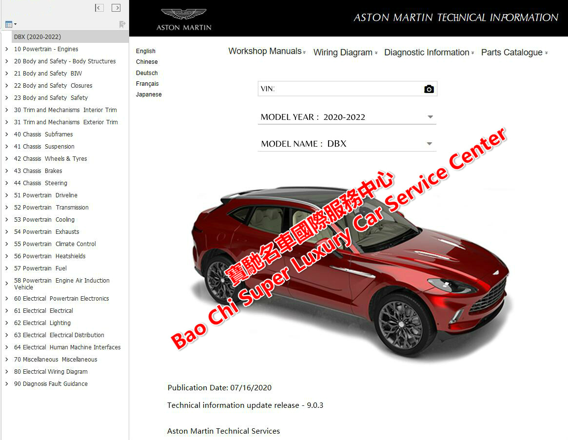 Aston Martin Dbx Workshop Service Manual Wiring Diagram